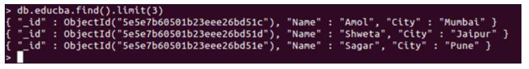 mongoDB limit() 2