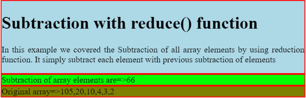 subtraction of elements