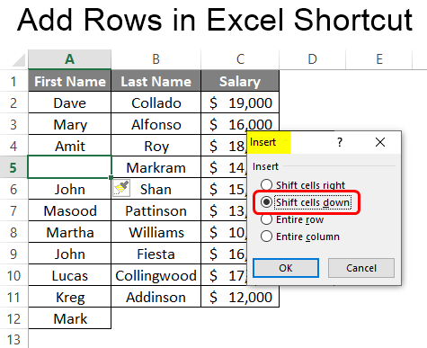 Add Rows in Excel Shortcut