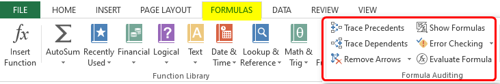 Auditing Tools in Excel example 1-4
