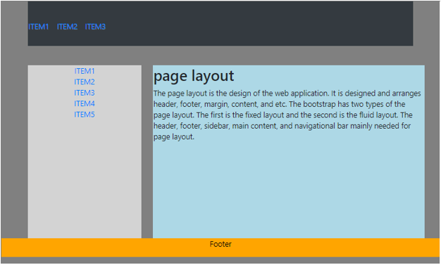 Bootstrap Page Layout output 1