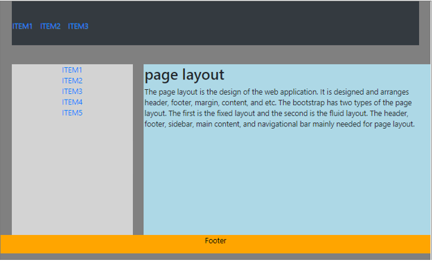 Bootstrap Page Layout output 2