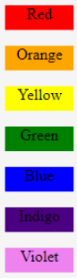 CSS Color Chart Example 1