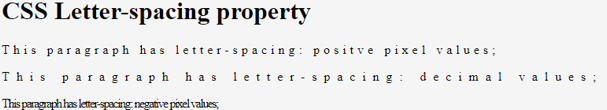 CSS Letter Spacing - 2