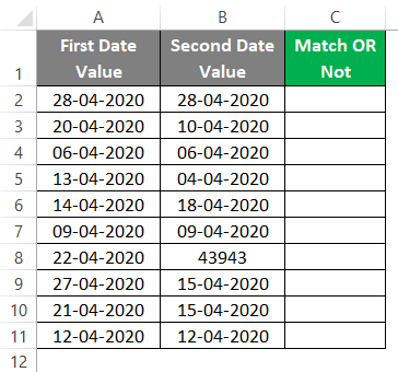Compare Dates in Excel 1-1