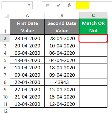 Compare Dates in Excel 1-2
