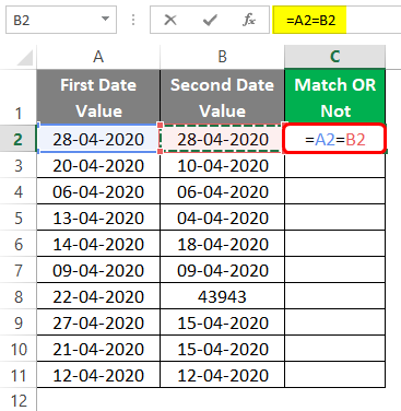 Compare Dates in Excel 1-3