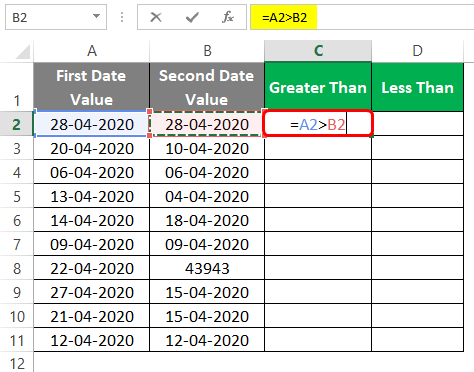 Compare Dates in Excel 2-2