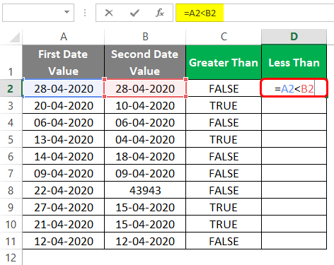 Compare Dates in Excel 2-4