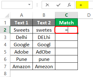 Compare Two Columns in Excel for Match 1-2