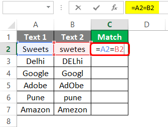 Compare Two Columns in Excel for Match 1-4