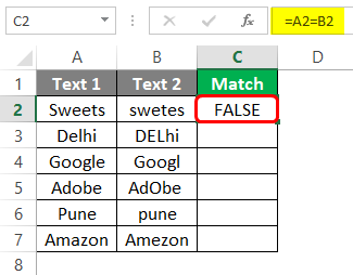 Compare Two Columns in Excel for Match 1-5
