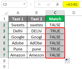 Compare Two Columns in Excel for Match 1-6