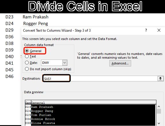 Divide cells in Excel