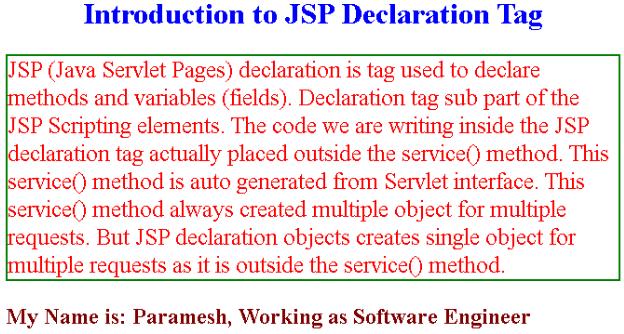 JSP Declaration Example 2