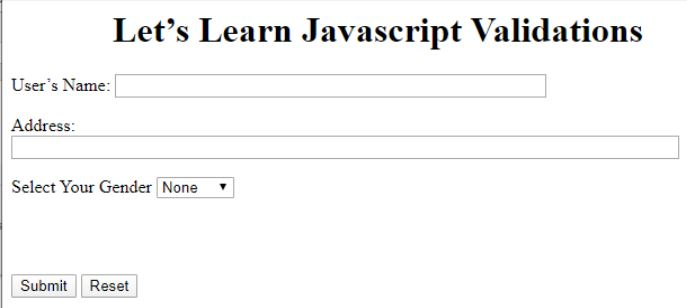 JavaScript Validation 1