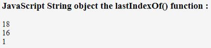 JavaScript lastIndexOf() Example 1