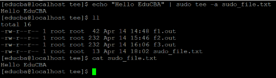 Linux tee Command Example 5