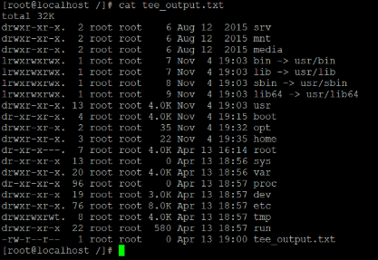 Linux tee Command Example 1