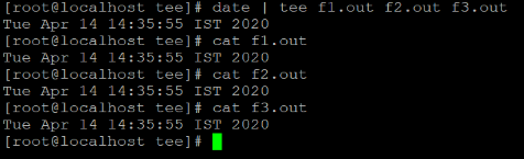 Linux tee Command Example 2