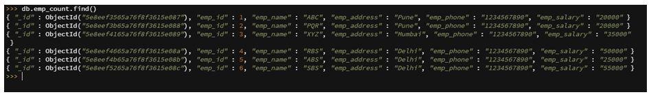MongoDB count 1