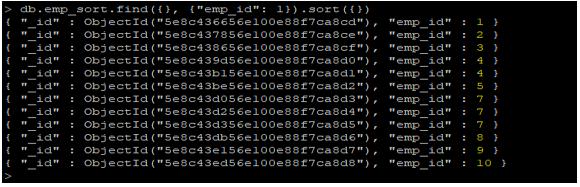 MongoDB sort() output 1