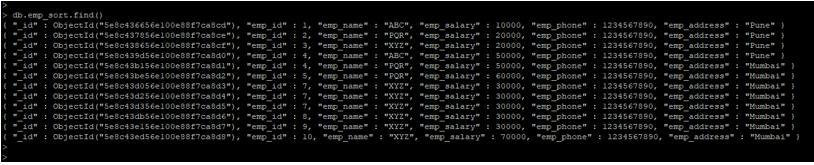 MongoDB sort() output 2