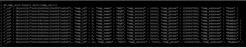 MongoDB sort() output 3