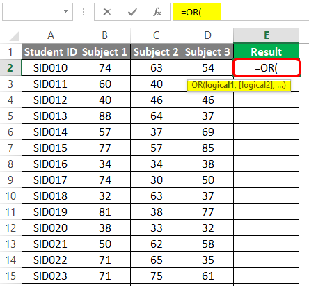 OR-Logical Function in excel 4-2