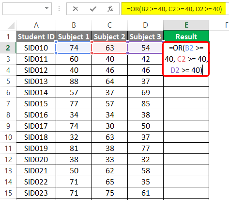 OR-Logical Function in excel 4-3
