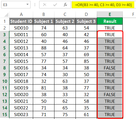 OR-Logical Function in excel 4-4