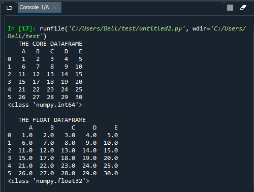 Pandas DataFrame.astype()-1.2