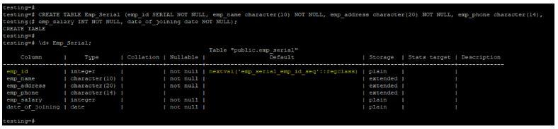 PostGRESQL SERIAL2