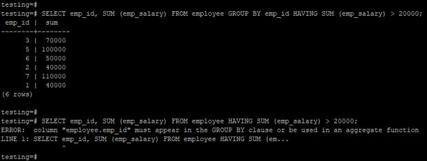 PostgreSQL HAVING - 1