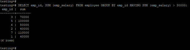 PostgreSQL HAVING - 2