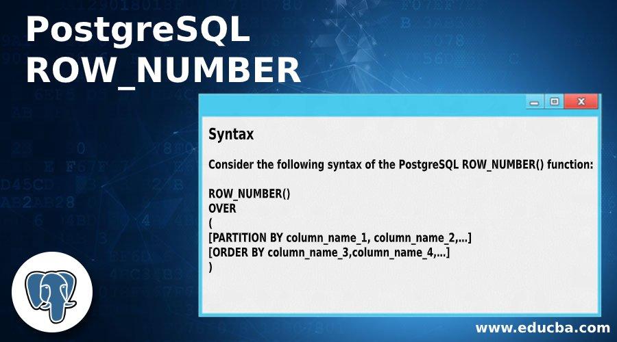 PostgreSQL ROW_NUMBER