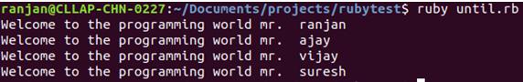Ruby Until Loop Example 2