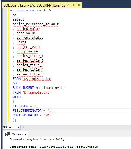 SQL Bulk Insert - 1