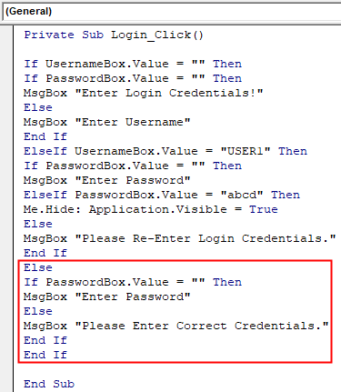 VBA Login Example 2-3
