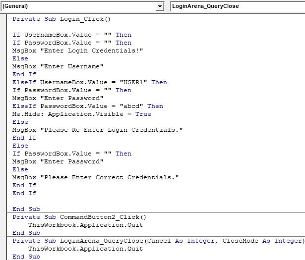 VBA Login Example 2-6