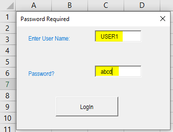 VBA Login Example 2-7