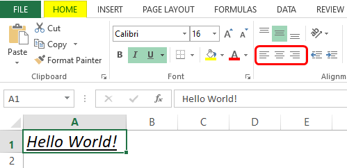 alignment - formatting excel