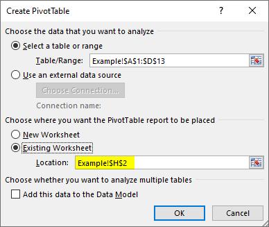 create pivot table - location