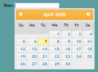 jQuery Datepicker Example 1