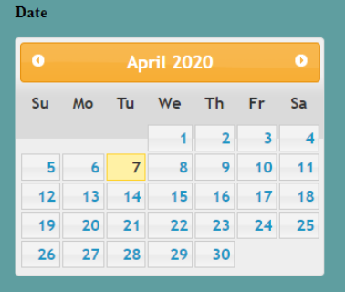jQuery Datepicker Example 2