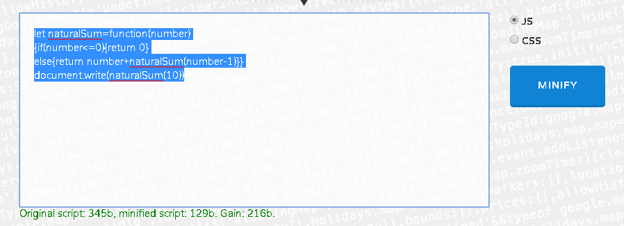 javascript minify output 1