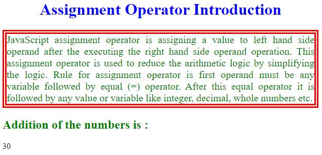 Assignment Operator in Java Script-1.1