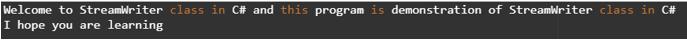 C# StreamWriter output 2