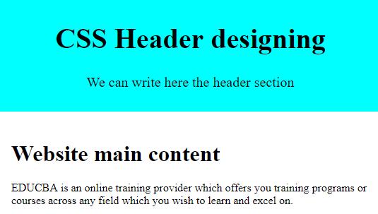 CSS Header design Example 1