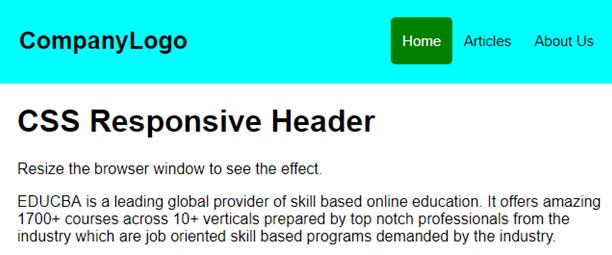 Responsive header Example 3